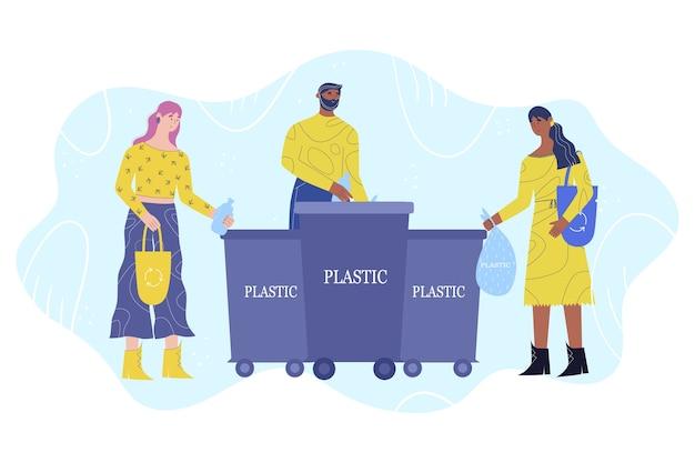 Koncepcja Sortowania śmieci. Grupa Młodych Ludzi Wyrzuca Plastik Do Kosza Na śmieci. Premium Wektorów