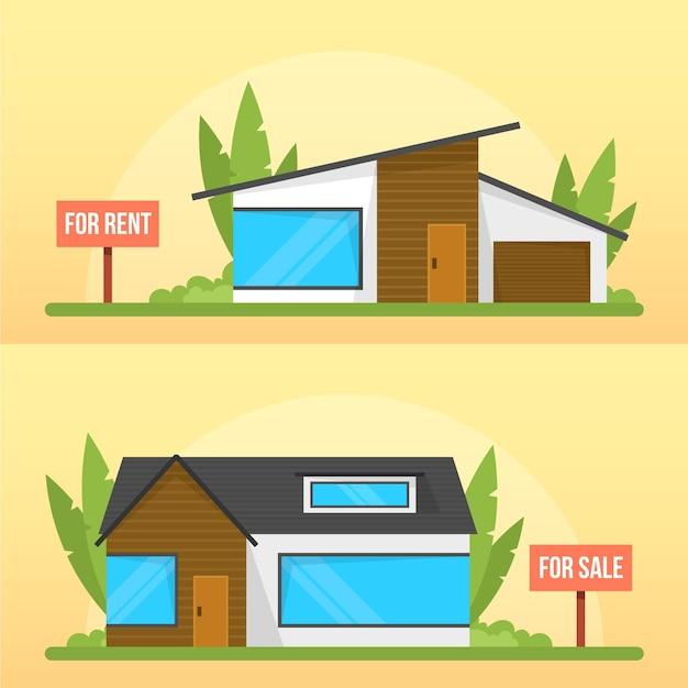 Koncepcja Sprzedaży I Wynajmu Nowoczesnych Domów Rustykalnych Darmowych Wektorów