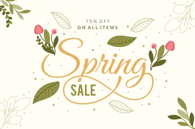 Koncepcja Sprzedaży Vintage Wiosna Darmowych Wektorów