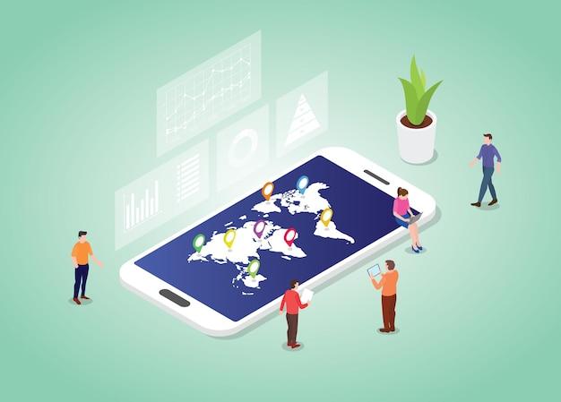 Koncepcja Statystyki świata Z Mapą światów I Danymi W Nowoczesnym Stylu Izometrycznym Premium Wektorów