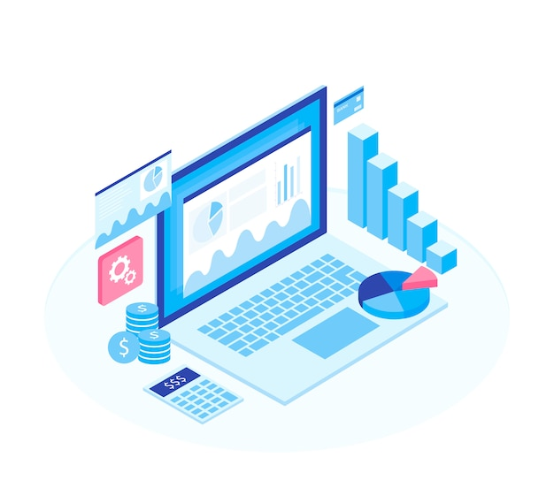 Koncepcja Strategii Biznesowej. Dane Analityczne I Inwestycje. Premium Wektorów