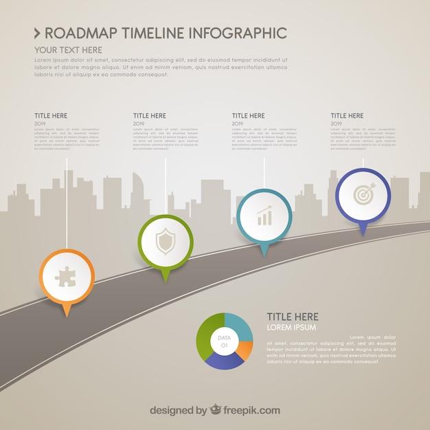 Koncepcja street infograficzna osi czasu Darmowych Wektorów