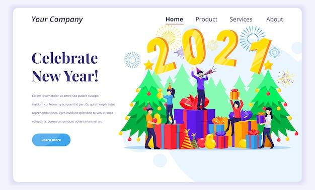 Koncepcja Strony Docelowej świętuj Nowy Rok. Premium Wektorów
