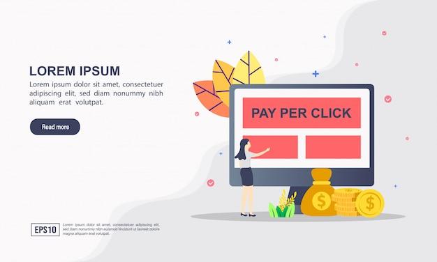 Koncepcja strony internetowej szablon strony docelowej płatności za kliknięcie Premium Wektorów