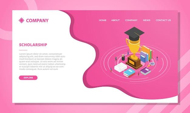 Koncepcja Stypendium Dla Szablonu Strony Internetowej Lub Projektu Strony Głównej Docelowej Z Ilustracją Izometryczną W Stylu Wektorowym Darmowych Wektorów