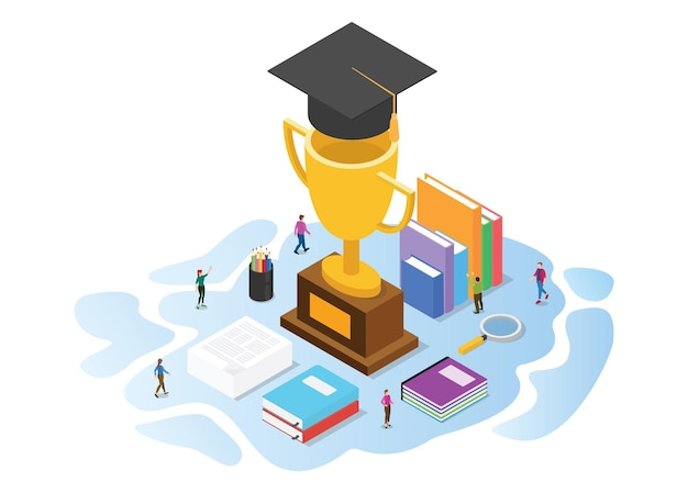 Koncepcja Stypendium Z Ilustracji Wektorowych W Nowoczesnym Stylu Izometrycznym Lub 3d Premium Wektorów