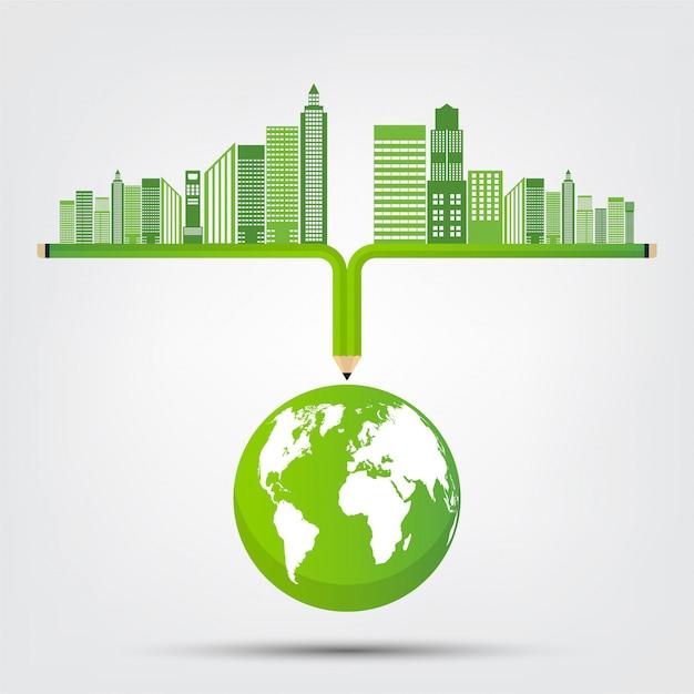 Koncepcja świata środowiska I Symbol Ziemi Z Zielonych Liści Wokół Miast Premium Wektorów