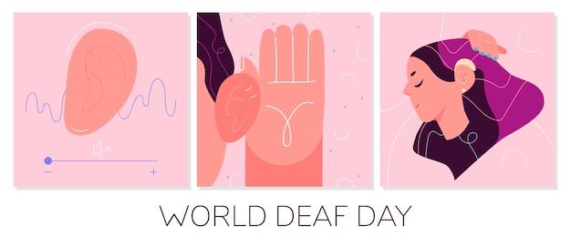 Koncepcja światowego Dnia Głuchych. Ilustracja Opieki Zdrowotnej. Premium Wektorów