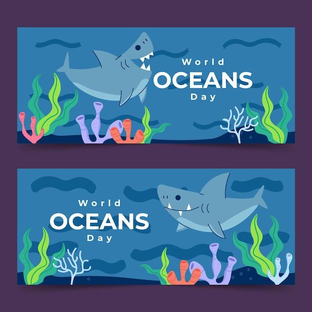 Koncepcja światowego Dnia Oceanów Darmowych Wektorów