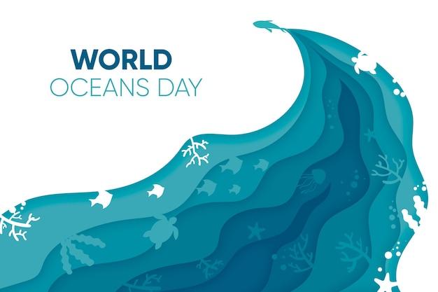 Koncepcja światowy Dzień Oceanów W Stylu Papieru Darmowych Wektorów