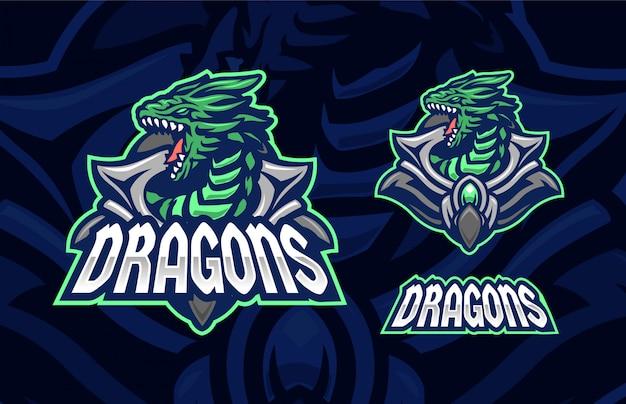 Koncepcja Symbolu Logo Sport Premium Zielony Smok Premium Wektorów