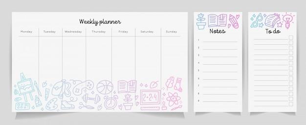 Koncepcja szablon tygodniowy planner z gradientu tekstury przyborów szkolnych. izolowany organizator i harmonogram z notatkami i listą zadań. Premium Wektorów
