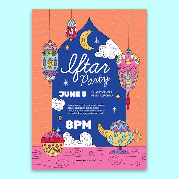 Koncepcja Szablon Zaproszenia Iftar Darmowych Wektorów