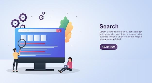 Koncepcja Szablonu Banera Wyszukiwania Z Osobami, Które Szukają Na Komputerze. Premium Wektorów