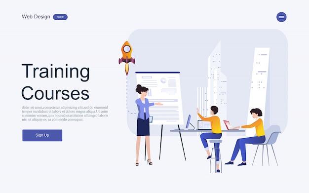 Koncepcja szablonu strony internetowej dla edukacji, szkoleń i kursów online. Premium Wektorów