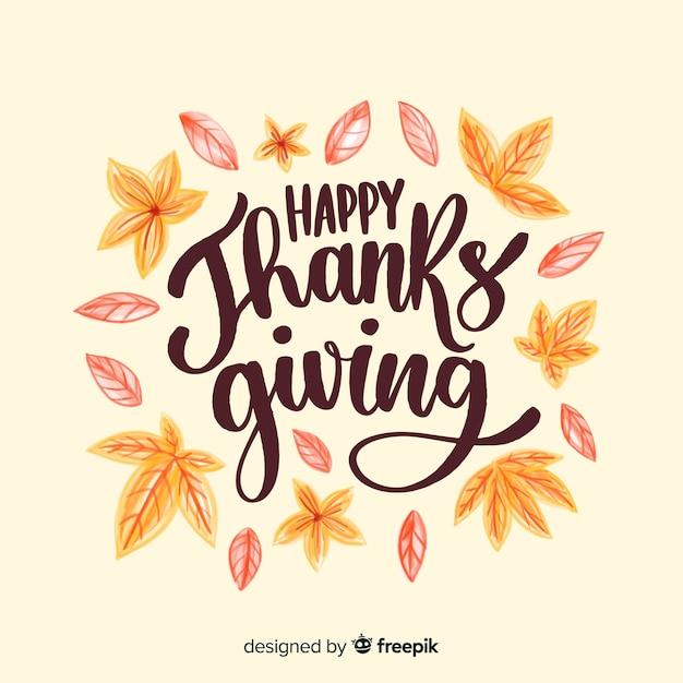 Koncepcja szczęśliwego dziękczynienia z napisem Darmowych Wektorów