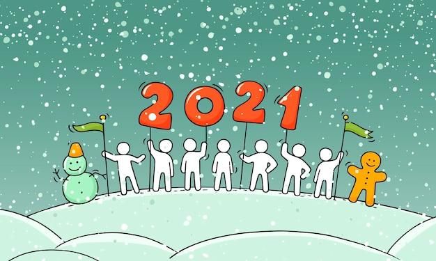 Koncepcja Szczęśliwego Nowego Roku 2020. Kreskówka Doodle Ilustracja Z Małymi Ludźmi Przygotowują Się Do świętowania. Ręcznie Rysowane Wektor Na Boże Narodzenie Projekt. Premium Wektorów