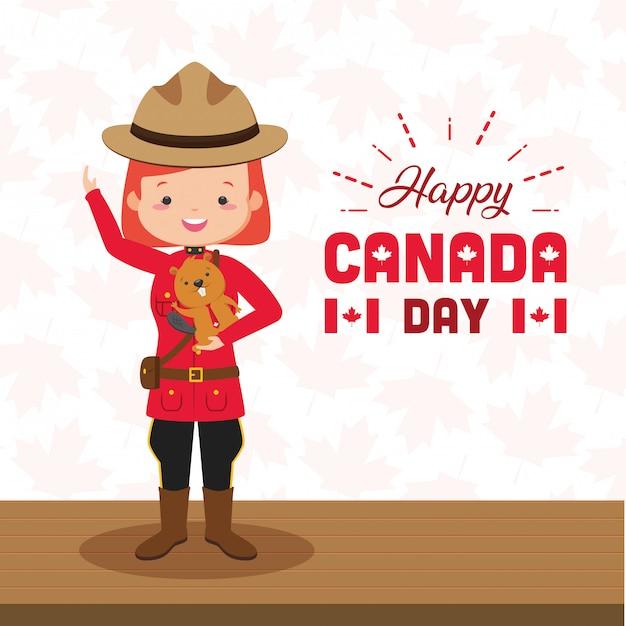 Koncepcja szczęśliwy dzień kanady Darmowych Wektorów