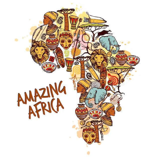 Koncepcja Szkic Afryki Darmowych Wektorów