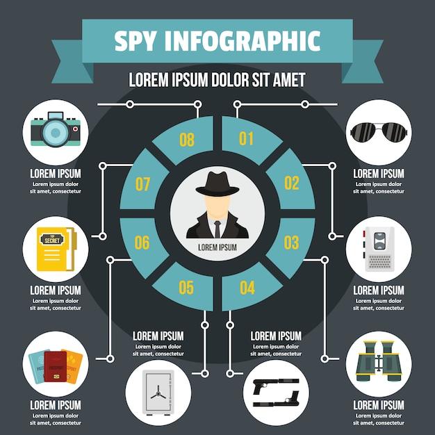 Koncepcja Szpieg Infographic. Premium Wektorów