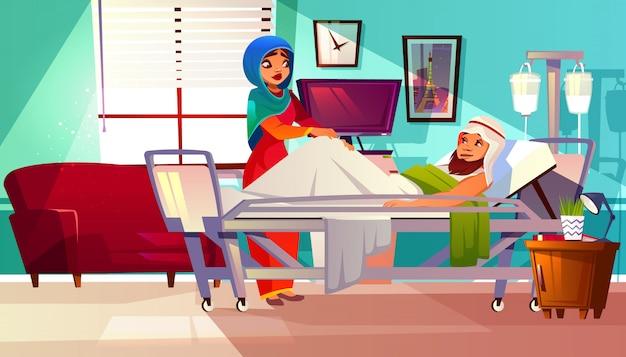 Koncepcja szpitala. arabski pacjent w łóżku z systemem podtrzymującym życie i muzułmańską pielęgniarką w hidżabie Darmowych Wektorów