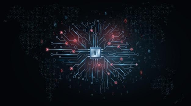 Koncepcja Sztucznej Inteligencji. Technologiczny Mózg. Premium Wektorów
