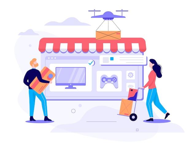 Koncepcja Szybkiej Dostawy. Kontener Box Latający Dronem. Zamów W Internecie. Dodaj Do Koszyka, Zapłać Kartą I Czekaj Na Kuriera. Ilustracja Premium Wektorów