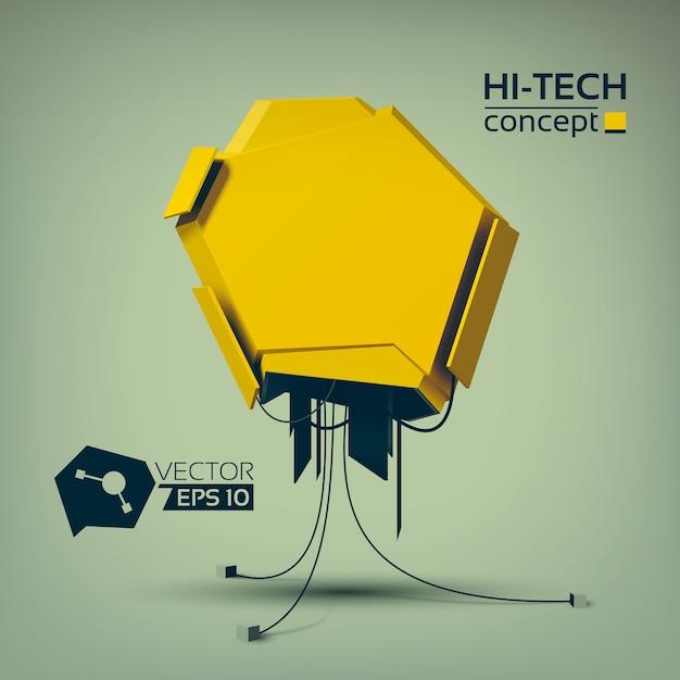 Koncepcja Technologiczna Hi-tech Z żółtym Obiektem Geometrycznym W Futurystycznym Stylu Darmowych Wektorów