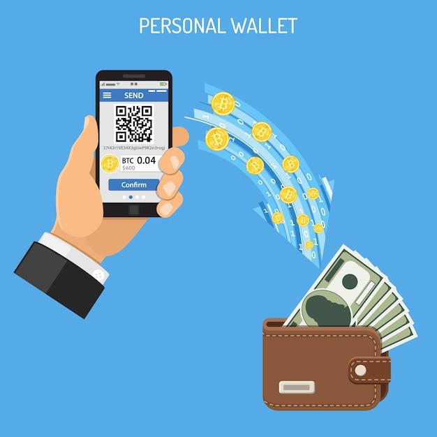 Koncepcja technologii bitcoinów kryptograficznych Premium Wektorów