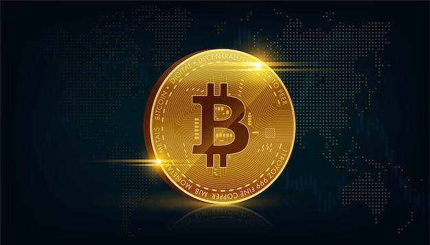 Koncepcja Technologii Blockchain Golden Bitcoin 3d Odpowiednia Dla Przyszłego Banera Lub Okładki Technologii Premium Wektorów