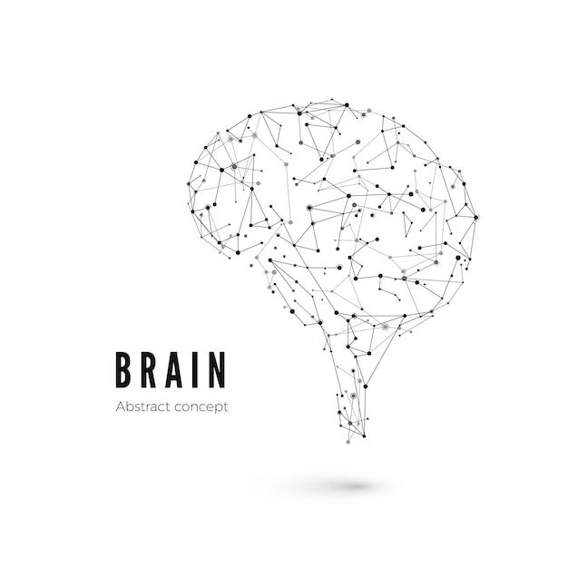 Koncepcja Technologii, Cząsteczki I Linie. Wieloboczny Kształt Mózgu Sztucznej Inteligencji Z Liniami I Kropkami. Ilustracja Premium Wektorów