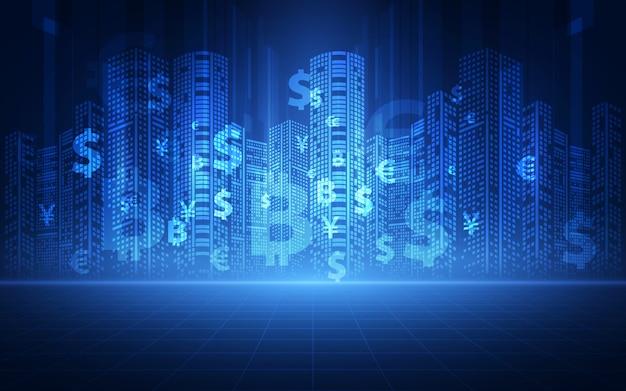Koncepcja Technologii Finansowej. Premium Wektorów