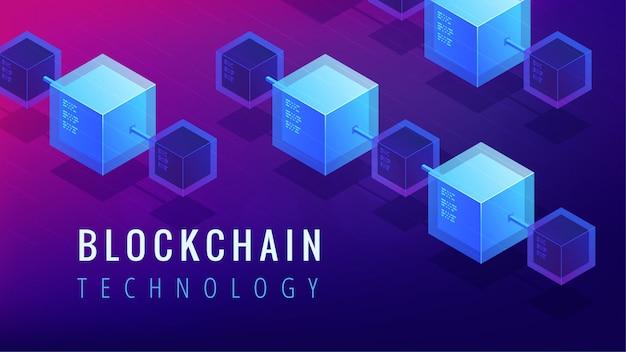 Koncepcja Technologii Izometryczny Blockchain. Premium Wektorów