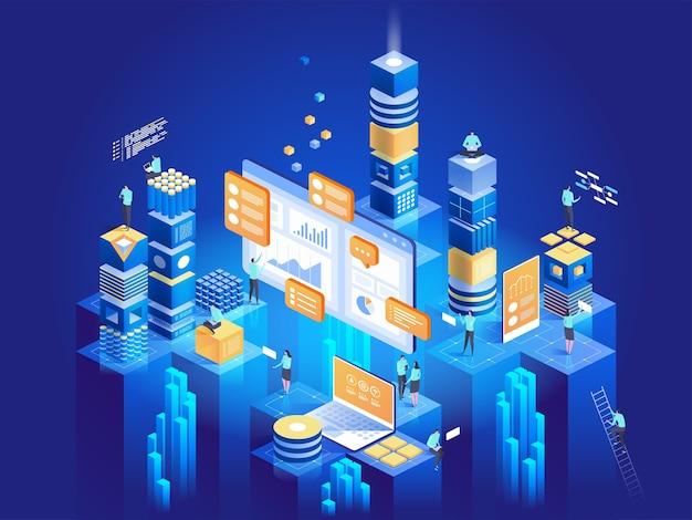 Koncepcja Technologii Marketingu Cyfrowego I Tworzenia Aplikacji. Osoby Korzystające Z Wykresów I Analizujące Statystyki. Wizualizacja Danych. Ilustracja Izometryczna. Premium Wektorów