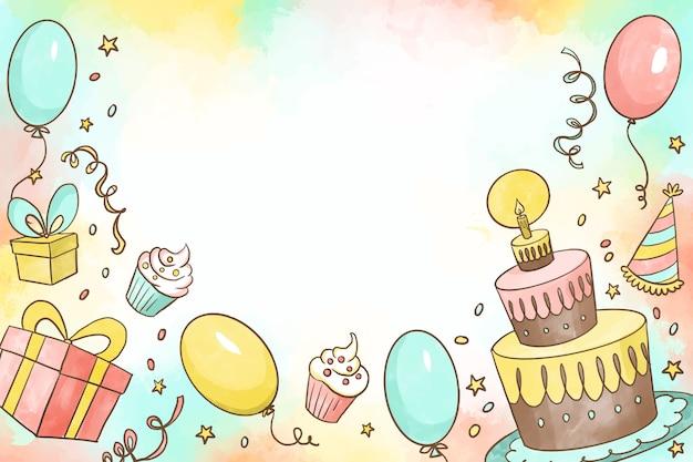 Koncepcja Tło Urodziny Akwarela Darmowych Wektorów
