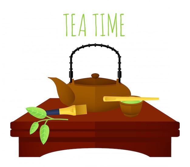 Koncepcja Tradycyjnej Chińskiej Herbaty Darmowych Wektorów