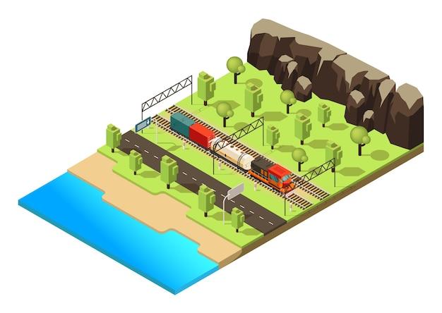 Koncepcja Transportu Kolejowego Izometrycznego Z Pociągiem Towarowym Lub Lokomotywą Poruszającą Się Po Lesie Na Białym Tle Darmowych Wektorów