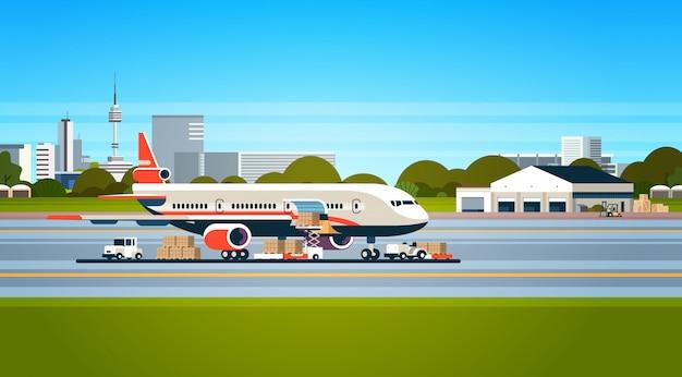 Koncepcja Transportu Towarów Drogą Lotniczą Premium Wektorów
