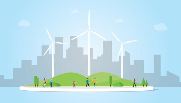 Koncepcja turbin wiatrowych na miasto energii energii z nowoczesnym stylu mieszkania z niebieskim tłem Premium Wektorów