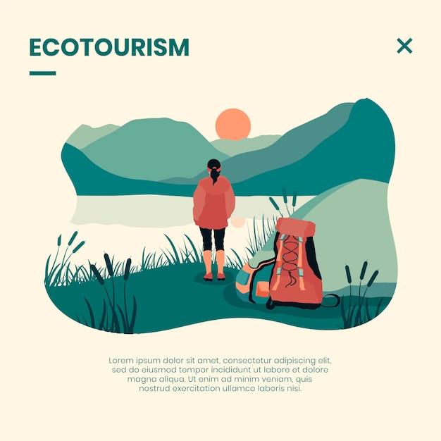 Koncepcja Turystyki Ekologicznej Z Kobietą Darmowych Wektorów