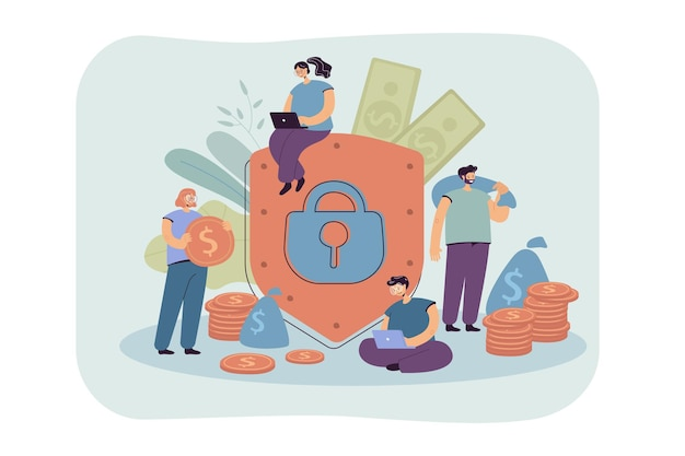 Koncepcja Ubezpieczenia I Bezpieczeństwa Finansów. Ilustracja Kreskówka Darmowych Wektorów