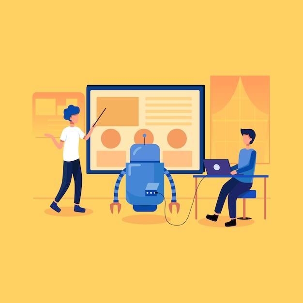 Koncepcja uczenia maszynowego ai ilustracja Premium Wektorów