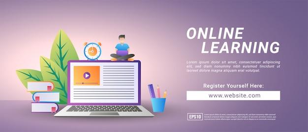 Koncepcja Uczenia Się Online. Zarejestruj Się Na Kursy I Ucz Się Online. Edukacja Cyfrowa. Premium Wektorów