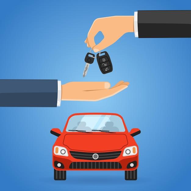 Koncepcja Udostępniania Lub Wynajmu Samochodu Premium Wektorów