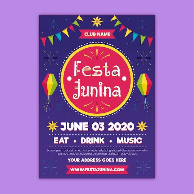 Koncepcja Ulotki Festa Junina Darmowych Wektorów