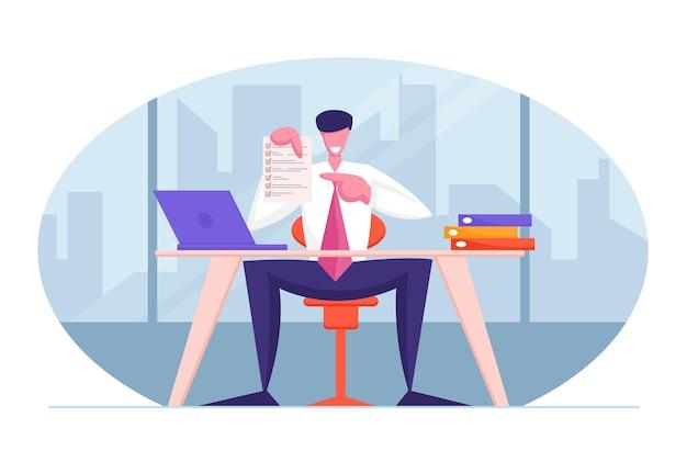 Koncepcja Umowy Biznesowej Uśmiechnięty Konsultant Biznesmen Lub Prawnik Premium Wektorów