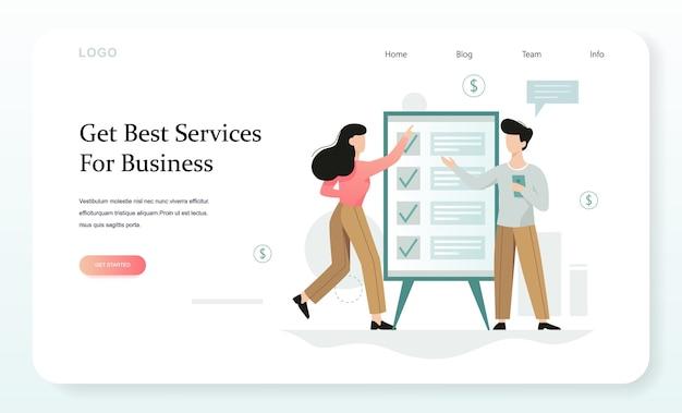 Koncepcja Usług Biznesowych. Idea Wspierania Biznesu Na Każdym Etapie Jego Rozwoju. Pomoc W Zakresie Obsługi Księgowej, Podatkowej, Zarządczej I Prawnej Biznesu. Koncepcja Banera Internetowego Premium Wektorów