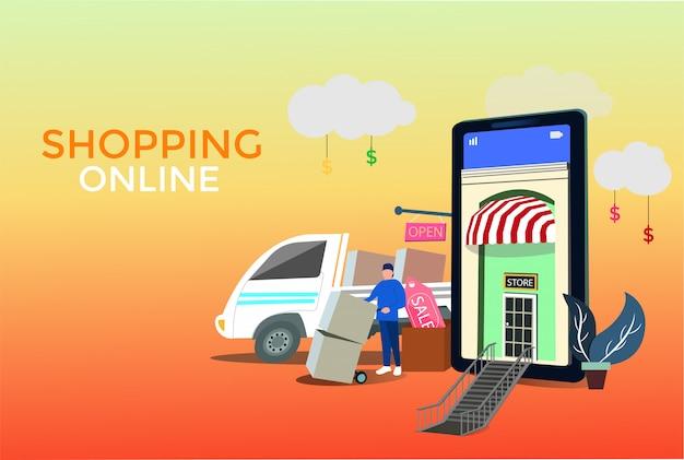 Koncepcja usług dostawy online Premium Wektorów