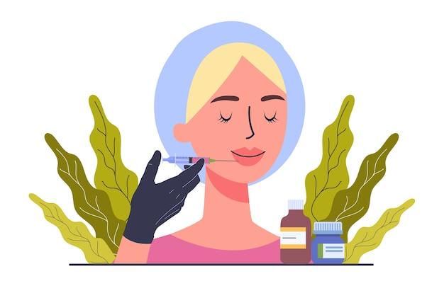 Koncepcja Usługi Centrum Urody. Odwiedzający Salon Kosmetyczny Po Zabiegu. Premium Wektorów