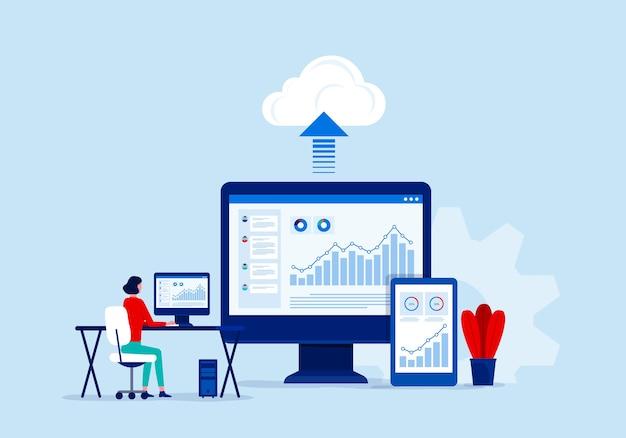 Koncepcja Usługi Przetwarzania W Chmurze Technologii Biznesowych Premium Wektorów